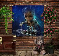 Мобильная картина-постер (гобелен) на ткани с 3D с принтом Маленький Грут и музыка