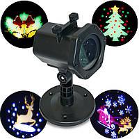 Новогодний проектор на дом, для улицы, со сменными карточками | уличный, для дома (новорічний проектор) (NS)