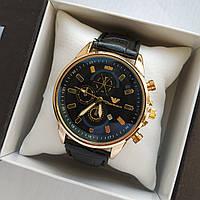 Мужские наручные часы Emporio Armani (Армани) на кожаном ремешке - золото с черным циферблатом - код 1775