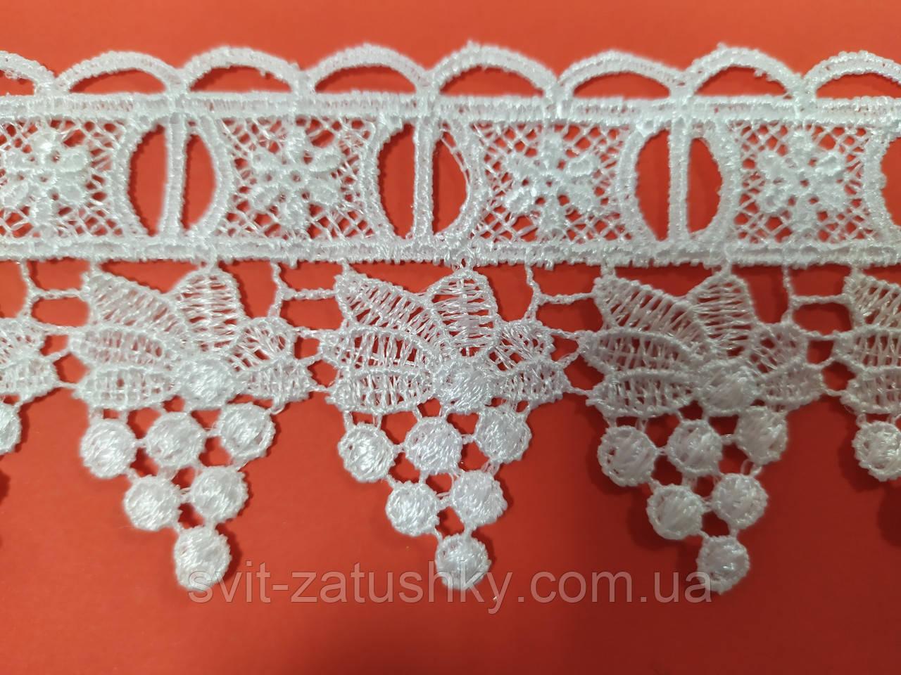 Біле Мереживо шириною 6 см /Мереживо щільне біле ширина 6 см