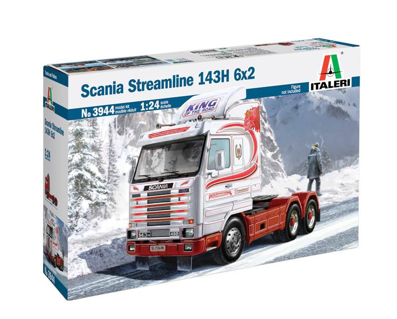 SCANIA Streamline 143H 6x2. Сборная модель автомобиля тягача в масштабе 1/24. ITALERI 3944
