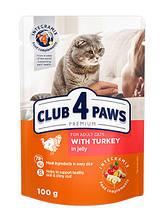 Клуб 4 Лапи Преміум 100 г для дорослих кішок з індичкою вологий корм в желе