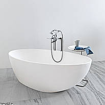 1MUBI0CR Muse Ванна отдельностоячая со штучного камня без перелива, 1680х830, с сифоном, белая