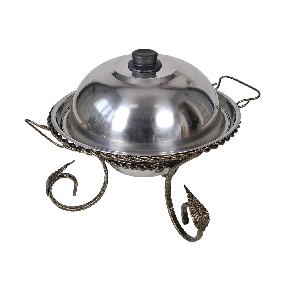 Подставка для подогрева мяса Садж с коваными элементами 280 мм + крышк