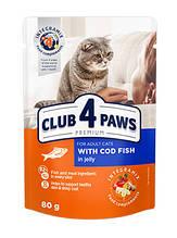 Клуб 4 Лапи Преміум 80 г для дорослих кішок з тріскою вологий корм в желе