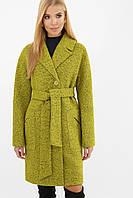 Зеленое женское демисезонное пальто   с поясом  на пуговицах  MS-191(б), фото 1