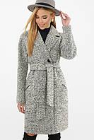 Серое женское демисезонное пальто   с поясом MS-191(б), фото 1
