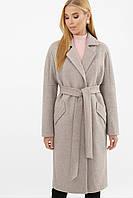 Бежевое женское зимнее пальто   с поясом  на пуговицах  MS-258 Z, фото 1