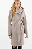 Бежевое женское зимнее пальто   с поясом  на пуговицах  MS-259 Z, фото 1