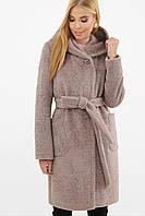 Бежевое женское зимнее пальто   с капюшоном и поясом MS-259-К Z, фото 1