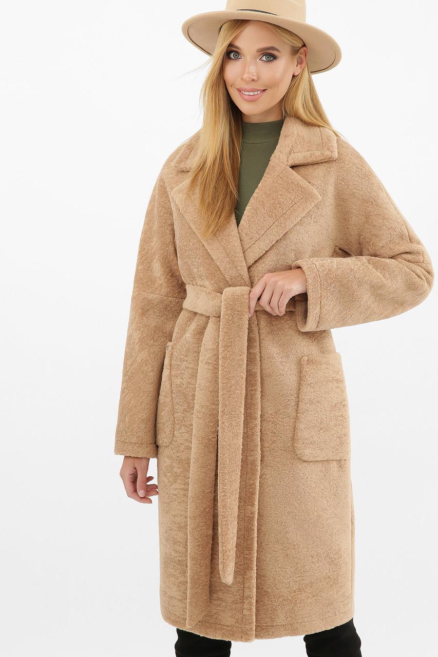 Бежевое женское зимнее пальто   с поясом  на пуговицах с карманами  MS-263 Z