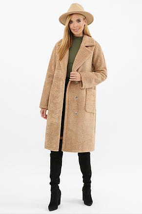 Бежевое женское зимнее пальто   с поясом  на пуговицах с карманами  MS-263 Z, фото 2