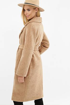 Бежевое женское зимнее пальто   с поясом  на пуговицах с карманами  MS-263 Z, фото 3