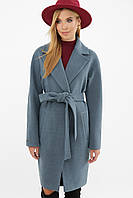 Серое женское демисезонное пальто   с поясом  на пуговицах  MS-268, фото 1