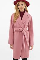 Женское розовое пальто с поясом до колен  MS-268/2, фото 1