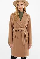Песочное женское демисезонное пальто   с поясом MS-269-К, фото 1