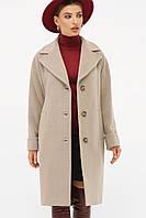 Женское бежевое пальто с поясом до колен на пуговицах П-408-100, фото 1