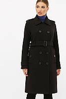 Женское черное пальто с поясом до колен на пуговицах   П-412-100, фото 1