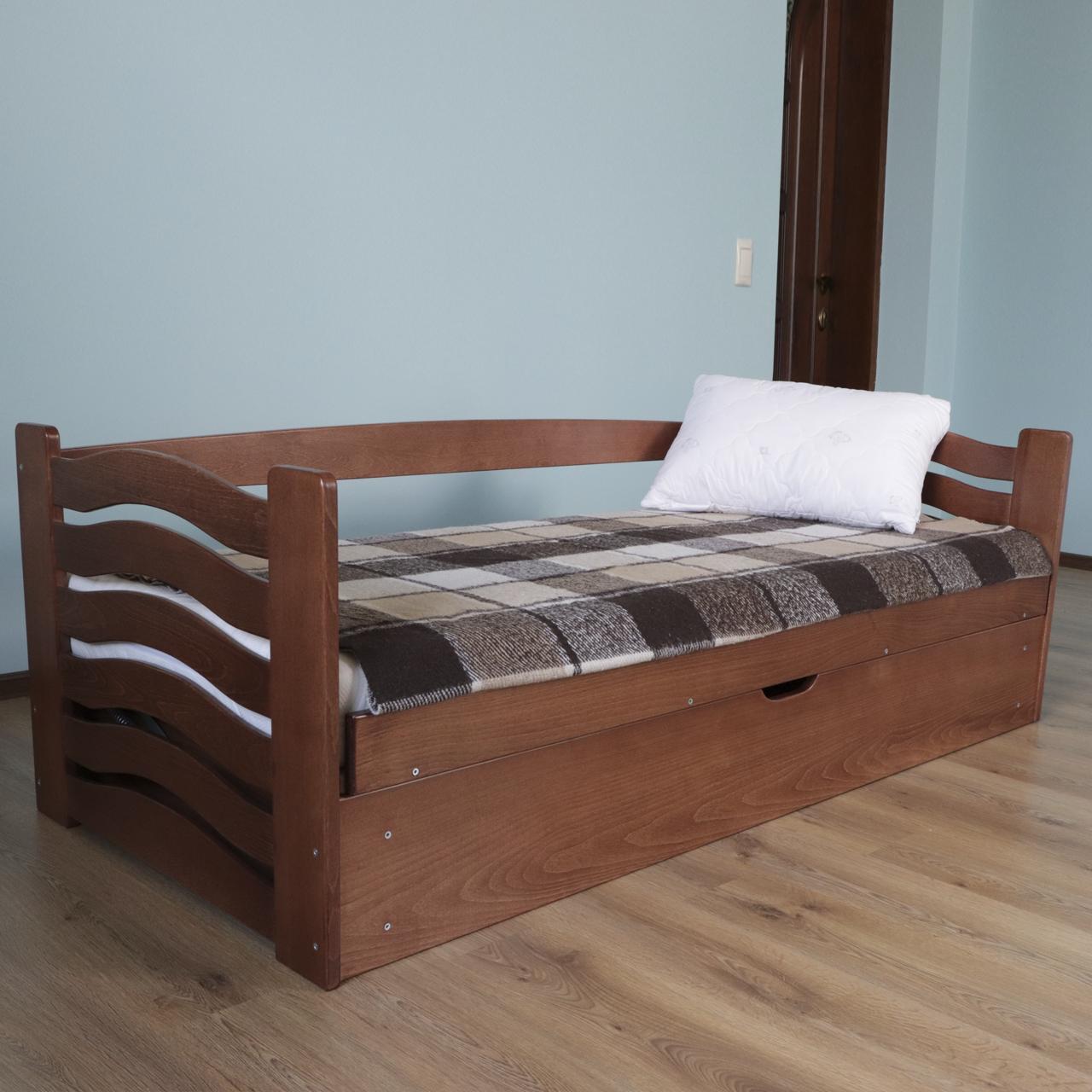 Кровать детская деревянная с подъемным механизмом Микки Маус (массив бука)