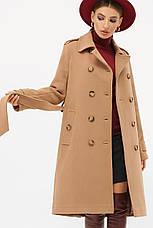 Женское коричневое пальто с поясом до колен на пуговицах   П-412-100, фото 3