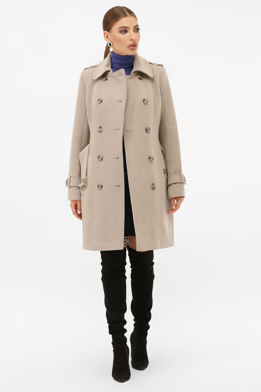Женское бежевое пальто с поясом до колен на пуговицах   П-414-90