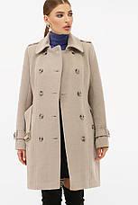 Женское бежевое пальто с поясом до колен на пуговицах   П-414-90, фото 2