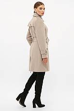 Женское бежевое пальто с поясом до колен на пуговицах   П-414-90, фото 3