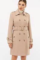 Женское бежевое пальто с поясом до колен на пуговицах   П-414-90, фото 1