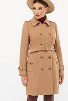 Женское коричневое пальто с поясом до колен на пуговицах   П-414-90, фото 1