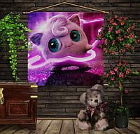 Мобильная картина-постер (гобелен) на ткани с 3D с принтом Покемон Джиглипуфф