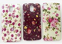 Чехол-накладка силиконовый цветы для HTC One M7
