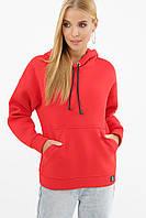 Яркий женский свитшот на флисе Хантер красного цвета на длинный рукав
