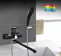 Смеситель для ванны FUTURA Aqua  с длинным изливом Черный матовый, фото 1