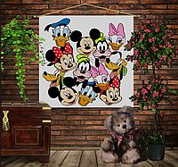Мобильная картина-постер (гобелен) на ткани с 3D с принтом Дисней Герои