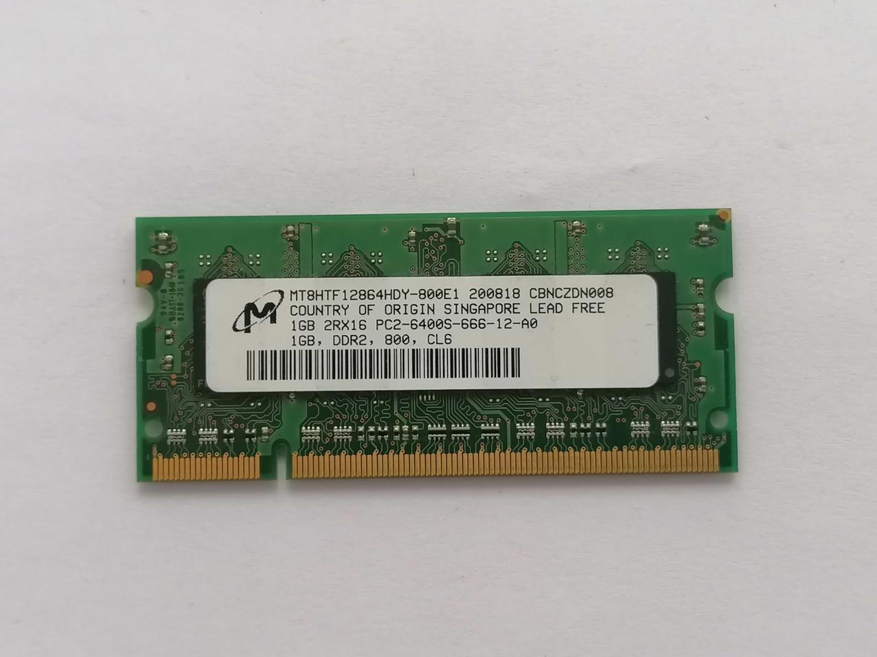 Оперативная память Micron DDR2 SODIMM 1GB PC2-6400S-666-12