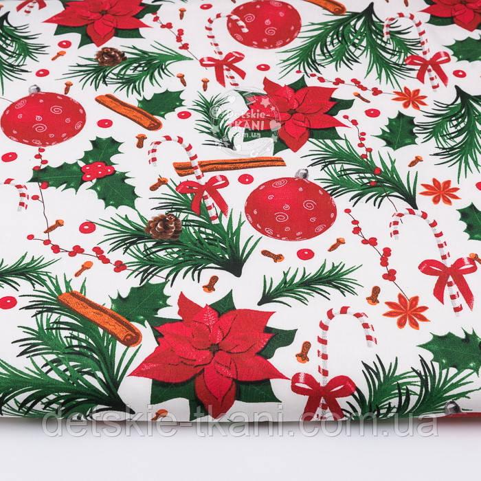 """Тканина новорічна """"Пуансеттія з корицею"""" на білому тлі №3053"""