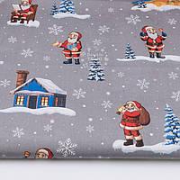"Ткань новогодняя ""Дед Мороз и домик"" на сером фоне №3048"