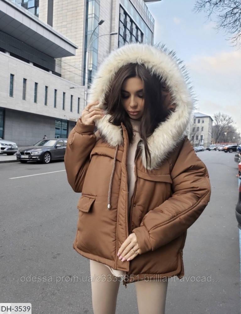 Женская красивая тёплая зимняя куртка - парка с мехом