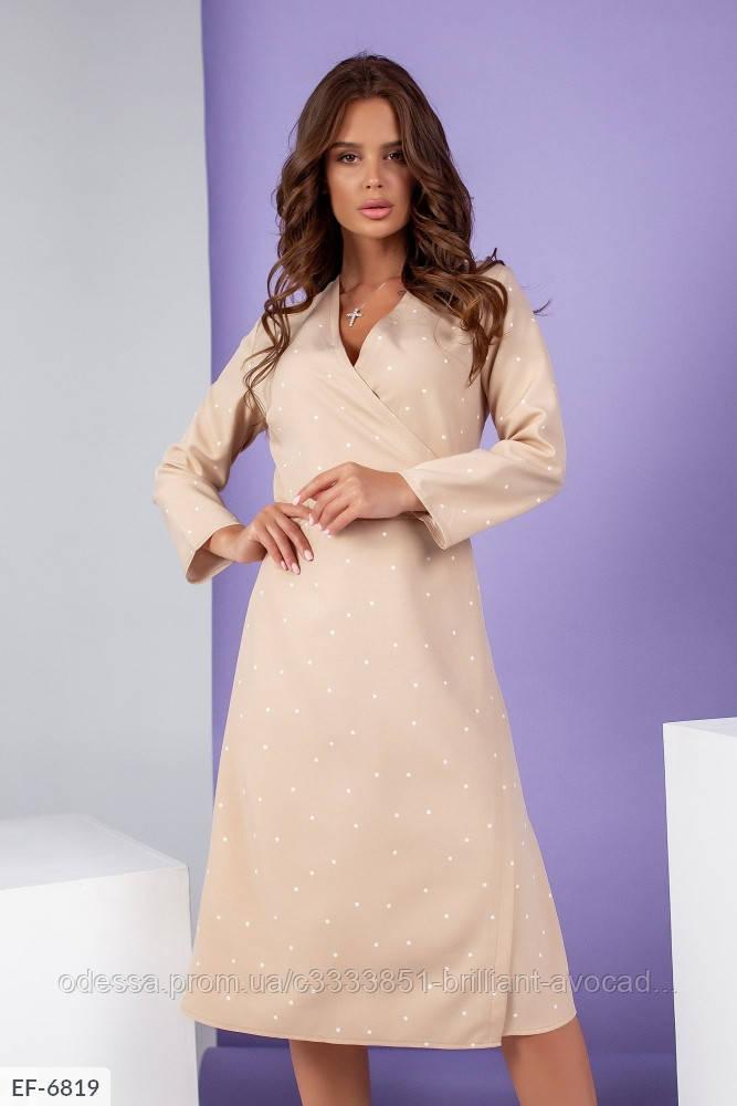 Женское нарядное платье на запах длины миди