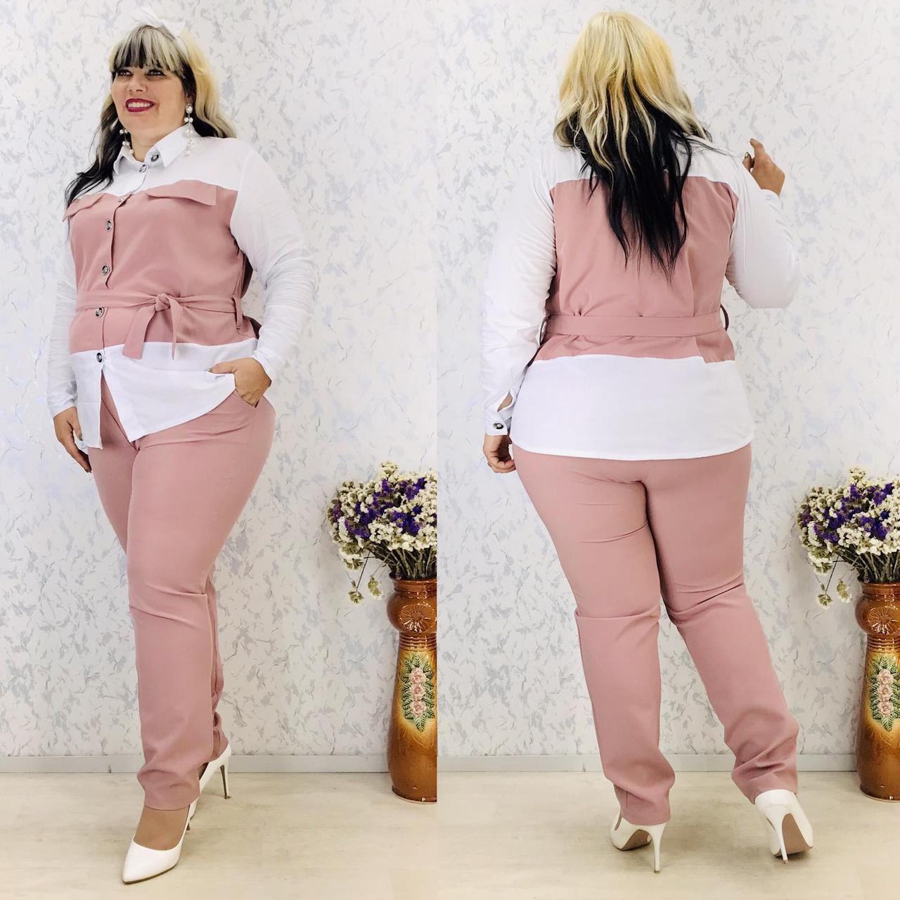 Женский брючный костюм блузка и брюки 3 расцветки размер: 58-60