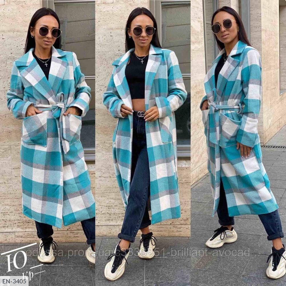 Женское модное длинное кашемировое пальто в клетку, в больших размерах