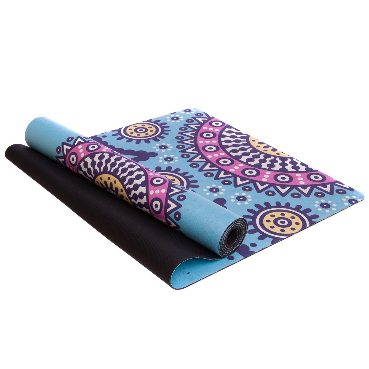 Коврик для йоги и финеса Zelart Yogamat двухслойный 3 мм замшевый, каучук (FI-5662-56)