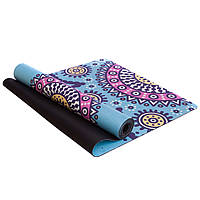 Коврик для йоги и финеса Zelart Yogamat двухслойный 3 мм замшевый, каучук (FI-5662-56), фото 1