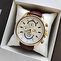 Мужские наручные часы Emporio Armani (Армани) на кожаном ремешке - золото с белым циферблатом - код 1777