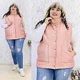 Женская жилетка безрукавка плащевка+150 синтепон размер батал: 50-52, 54-56, 58-60, фото 6
