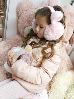 Теплые меховые наушники для девочки Kitty розовые