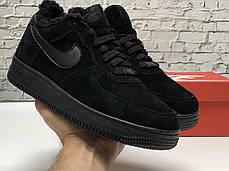 Зимние мужские кроссовки Nike Air Force Black mono с мехом. ТОП Реплика ААА класса., фото 3