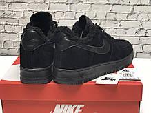 Зимние мужские кроссовки Nike Air Force Black mono с мехом. ТОП Реплика ААА класса., фото 2