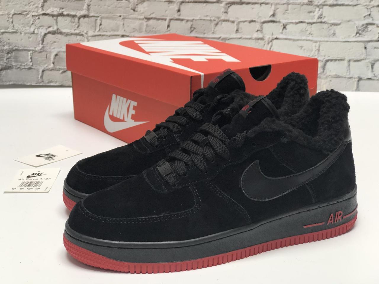 Зимние мужские кроссовки Nike Air Force Black red с мехом. ТОП Реплика ААА класса.
