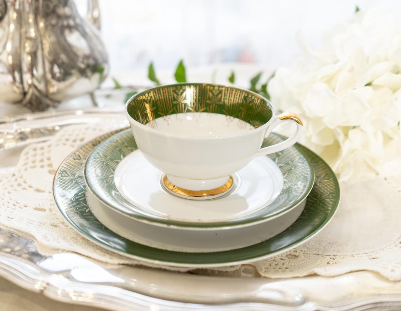 Немецкая чайная тройка, чашка, блюдце, тарелка, фарфор, Германия, K&A Krautheim,  Bavaria